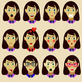 Dziewczyny emoticon wektoru set Zdjęcie Stock