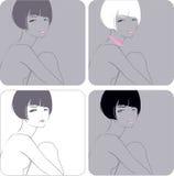 dziewczyny fryzury skrót ilustracja wektor