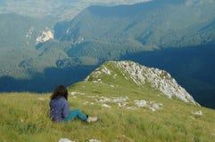 dziewczyny góry wierzchołek Fotografia Stock