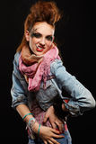 dziewczyny glam punkowy dymienie Obrazy Stock
