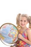 dziewczyny globe trzyma małego pionowe Obrazy Royalty Free
