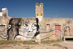 dziewczyny graffiti Lisbon Portugal wojownik Zdjęcia Stock