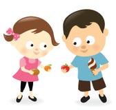 Dziewczyny i chłopiec udzielenia owoc i cukierki ilustracji