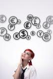 Dziewczyny i chmury monety fotografia royalty free
