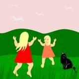 Dziewczyny i kot ilustracja wektor