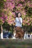 Dziewczyny i złoci aportery biegają na trawie Obraz Stock