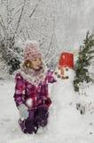 dziewczyny ilustracyjny mały bałwanu wektor Fotografia Stock