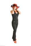 dziewczyny ja target1601_0_ kapeluszowy ładny czerwony Zdjęcie Stock