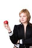 dziewczyny jabłczana czerwień Zdjęcia Stock