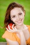 dziewczyny jabłczana czerwień Obrazy Stock