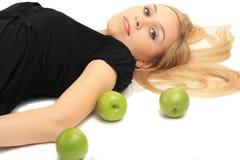 dziewczyny jabłczana zieleń Zdjęcia Stock