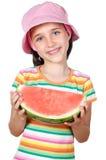 dziewczyny jedzący arbuz Zdjęcia Stock