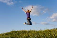 dziewczyny jumping Zdjęcia Stock