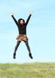 dziewczyny jumping Obrazy Royalty Free