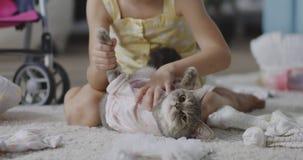 Dziewczyny kładzenie odziewa na kocie zbiory