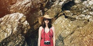 Dziewczyny kamery fotografa ostrości natury Mknący pojęcie Obraz Stock