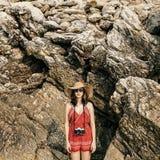 Dziewczyny kamery fotografa ostrości natury Mknący pojęcie Zdjęcia Stock