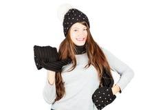 dziewczyny kapeluszowa szalika zima Zdjęcie Stock