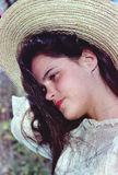 dziewczyny kapeluszowi obrazka słomy potomstwa fotografia stock