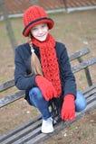 dziewczyny kapeluszu czerwień Obrazy Royalty Free