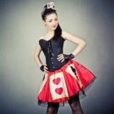 dziewczyny karciana kostiumowa królowa Zdjęcia Stock