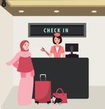 Dziewczyny kobieta sprawdza wewnątrz linia lotnicza lot frontowego biurka podróż jest ubranym przesłonę przynosi bagaż ilustracja wektor