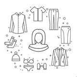 Dziewczyny kobiety linii wektoru ubrania ustawiający kurtka, bluzka, spódnica, spodnia, kapelusz, koszulka royalty ilustracja