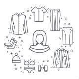 Dziewczyny kobiety linii wektoru ubrania ustawiający kurtka, bluzka, spódnica, spodnia, kapelusz, koszulka Obrazy Stock