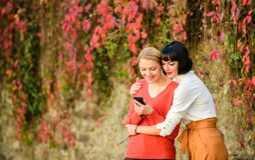 Dziewczyny komunikuje patrzejący telefon Og?lnospo?eczny sieci poj?cie Dwa kobiety komunikuje outdoors z smartphone sharkskin obrazy royalty free