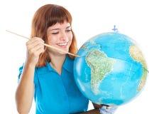 dziewczyny kuli ziemskiej z włosami obrazu czerwień Zdjęcie Royalty Free