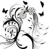dziewczyny kwiat włosy ilustracji