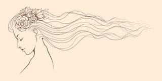 Dziewczyny kwiecista linia Obrazy Royalty Free