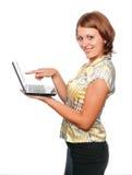 dziewczyny laptopu ja target1299_0_ Obraz Royalty Free