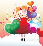 dziewczyny latający niebo royalty ilustracja