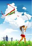 dziewczyny latająca kania Fotografia Stock