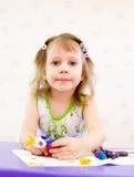 dziewczyny lejni plastelina Fotografia Stock