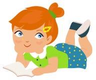 Dziewczyny lying on the beach w czytaniu i podłoga royalty ilustracja