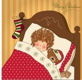 dziewczyny mały Santa czekanie Obrazy Royalty Free