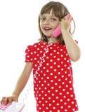 dziewczyny mała telefonu zabawka Zdjęcia Stock