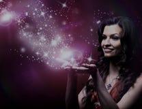 Dziewczyny magii podmuchowe gwiazdy Obrazy Royalty Free
