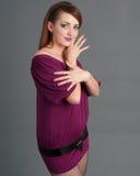 dziewczyny makeup purpury Zdjęcia Royalty Free