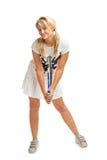 dziewczyny mienia kanta nastoletni tenisowi potomstwa Fotografia Stock