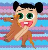 Dziewczyny mienia konia zabawka Zdjęcie Royalty Free