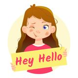 Dziewczyny mienia mrugnięcie Hej Cześć Zdjęcia Stock