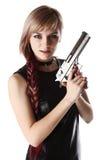 Dziewczyny mienia pistolet zdjęcia royalty free