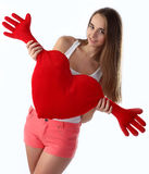 Dziewczyny mienia serca zabawka zdjęcie royalty free