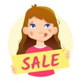 Dziewczyny mienia sprzedaż Yum Zdjęcia Stock