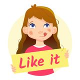 Dziewczyny mienie Lubi mnie Yum Zdjęcia Stock