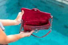 Dziewczyny mienie otwierał luksusową snakeskin pytonu torebkę na pływackiego basenu tle Tropikalna wyspa Bali Obraz Royalty Free