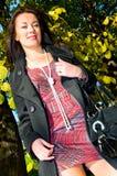 dziewczyny mini czerwieni spódnicowy ja target2652_0_ zdjęcie stock
